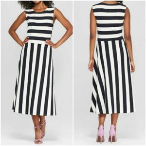 NWT Who What Wear Black Pristine Stripe Midi Dress